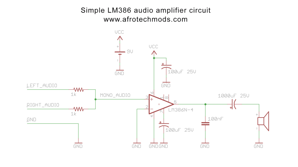 How to make a simple 1 watt audio amplifier LM386 based